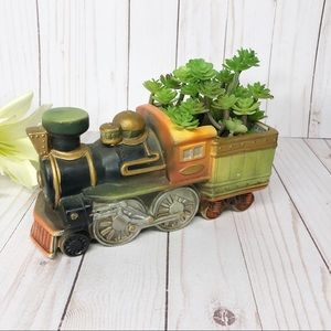 Vintage Steam Rail Train Ceramic succulent Planter